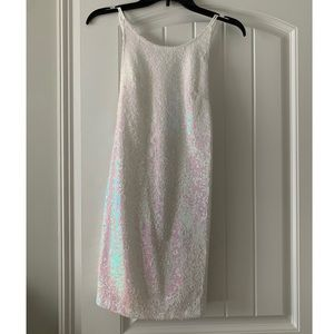 White glitter mini dress